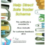 Morris Locksmiths Safe Trader feedback 2012