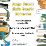 Morris Locksmiths Safe Trader feedback 2013
